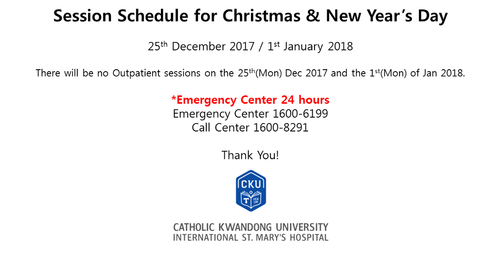 Public Notice : Christmas & New Year's Day