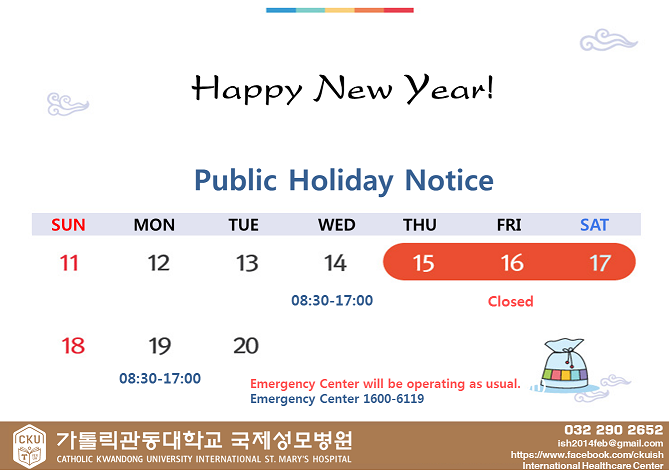Public Notice :  New Year's Day